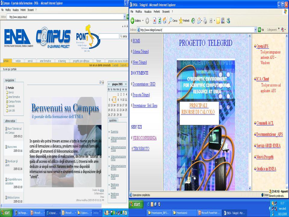 migliori@enea.itcampus@enea.it I Server C@mpus – ENEA Portici Softgrid Streaming Server(r/i) IIS(r/i) AFS Client per Windows(r/i) Softgrid Servers – pollux IBM e@server Series 306 - 2 CPUs – 2.5 GB RAM - HHD 2x149 GB Windows 2003 Server Standard Edition