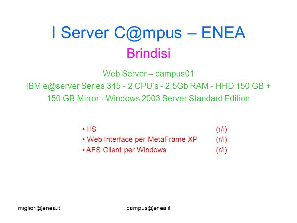 migliori@enea.itcampus@enea.it I Server C@mpus – ENEA Brindisi IIS(r/i) Web Interface per MetaFrame XP(r/i) AFS Client per Windows(r/i) Web Server – campus01 IBM e@server Series 345 - 2 CPUs - 2.5Gb RAM - HHD 150 GB + 150 GB Mirror - Windows 2003 Server Standard Edition