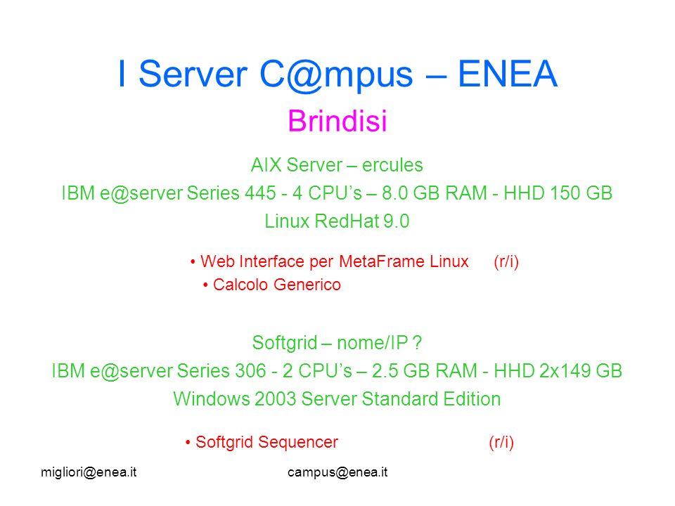 migliori@enea.itcampus@enea.it I Server C@mpus – ENEA Brindisi Web Interface per MetaFrame Linux(r/i) Calcolo Generico AIX Server – ercules IBM e@server Series 445 - 4 CPUs – 8.0 GB RAM - HHD 150 GB Linux RedHat 9.0 Softgrid – nome/IP .