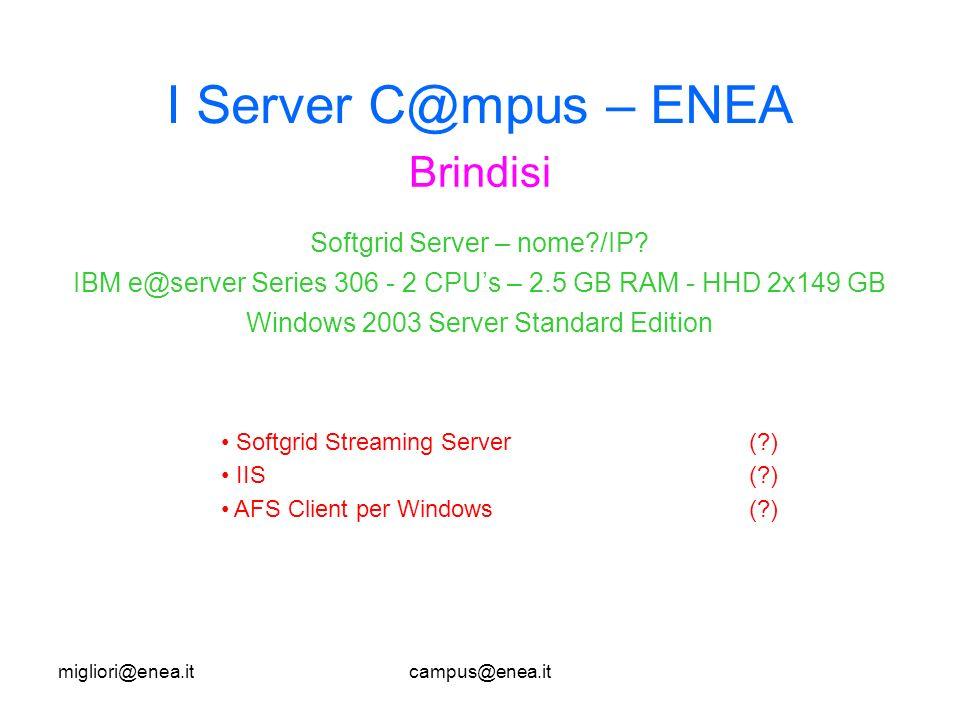 migliori@enea.itcampus@enea.it I Server C@mpus – ENEA Brindisi Softgrid Streaming Server(?) IIS(?) AFS Client per Windows(?) Softgrid Server – nome?/IP.