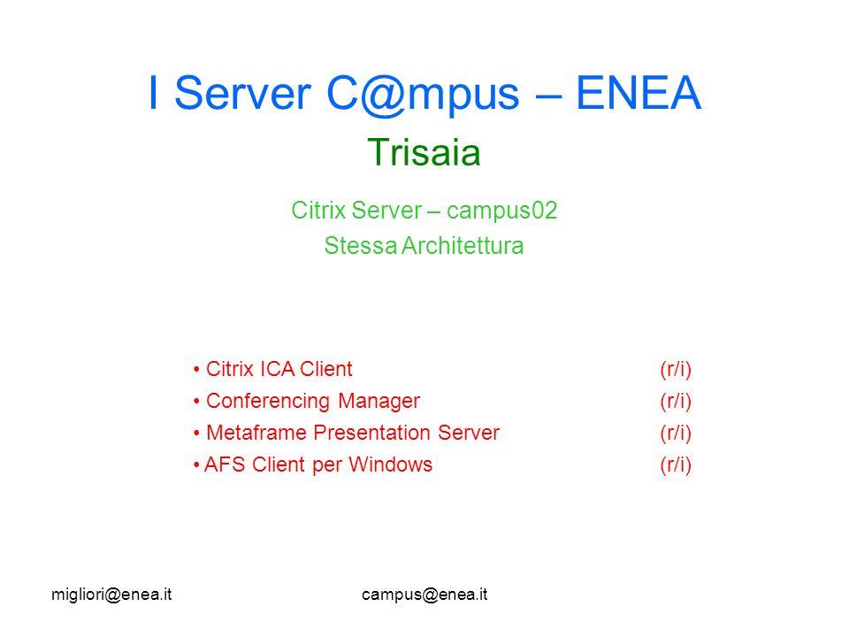 migliori@enea.itcampus@enea.it I Server C@mpus – ENEA Trisaia Citrix ICA Client(r/i) Conferencing Manager(r/i) Metaframe Presentation Server (r/i) AFS Client per Windows (r/i) Citrix Server – campus02 Stessa Architettura