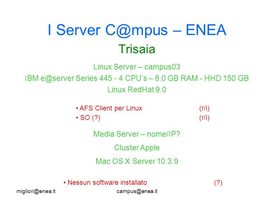 migliori@enea.itcampus@enea.it I Server C@mpus – ENEA Trisaia AFS Client per Linux(r/i) SO (?)(r/i) Linux Server – campus03 IBM e@server Series 445 - 4 CPUs – 8.0 GB RAM - HHD 150 GB Linux RedHat 9.0 Media Server – nome/IP.
