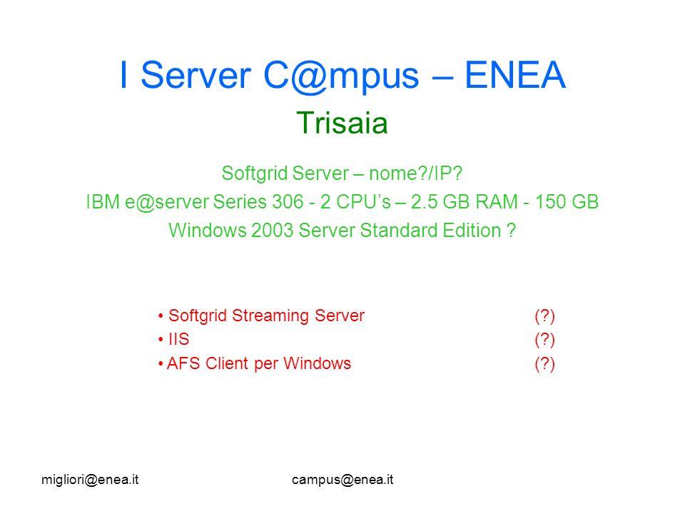 migliori@enea.itcampus@enea.it I Server C@mpus – ENEA Trisaia Softgrid Streaming Server(?) IIS(?) AFS Client per Windows(?) Softgrid Server – nome?/IP.