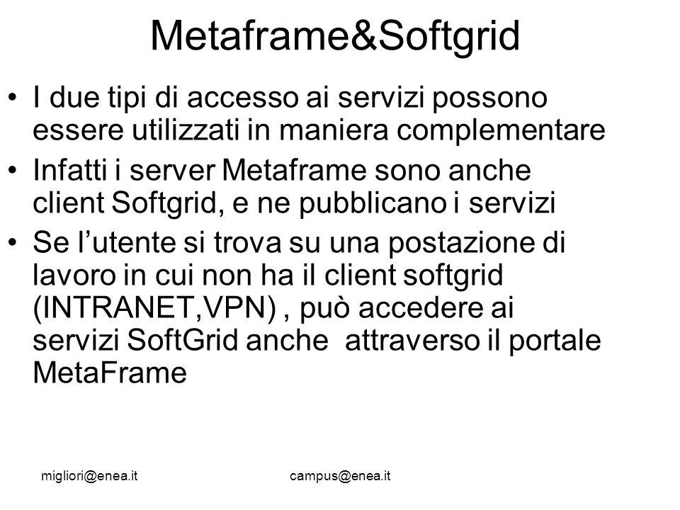 migliori@enea.itcampus@enea.it Metaframe&Softgrid I due tipi di accesso ai servizi possono essere utilizzati in maniera complementare Infatti i server Metaframe sono anche client Softgrid, e ne pubblicano i servizi Se lutente si trova su una postazione di lavoro in cui non ha il client softgrid (INTRANET,VPN), può accedere ai servizi SoftGrid anche attraverso il portale MetaFrame