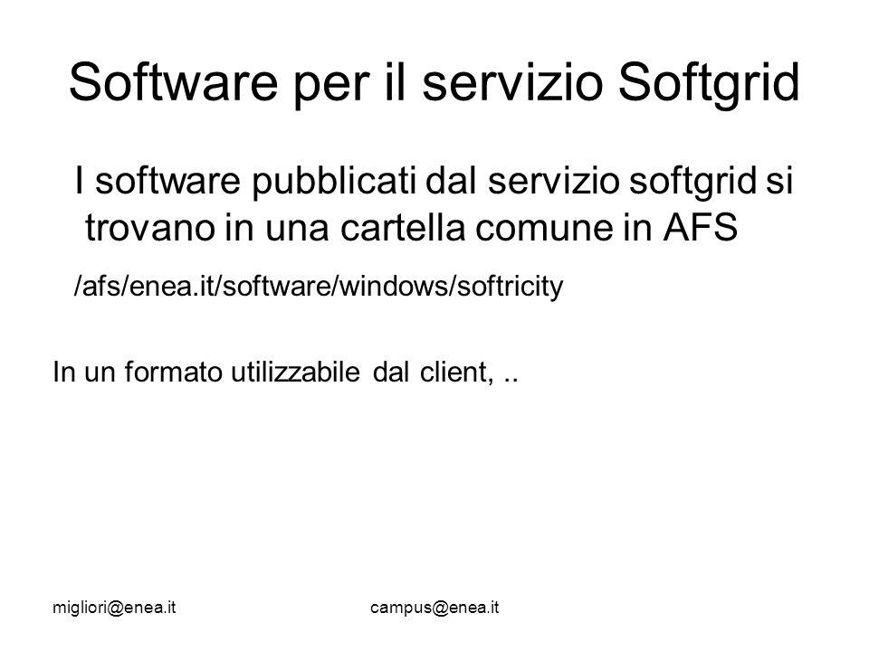 migliori@enea.itcampus@enea.it Software per il servizio Softgrid I software pubblicati dal servizio softgrid si trovano in una cartella comune in AFS /afs/enea.it/software/windows/softricity In un formato utilizzabile dal client,..