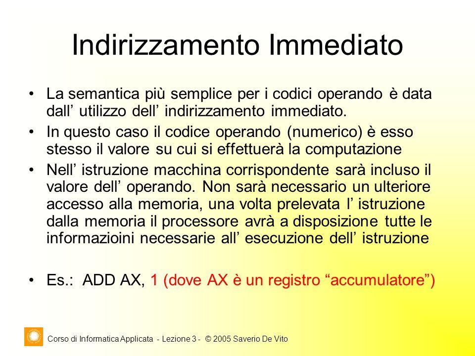 Corso di Informatica Applicata - Lezione 3 - © 2005 Saverio De Vito Indirizzamento Immediato La semantica più semplice per i codici operando è data da