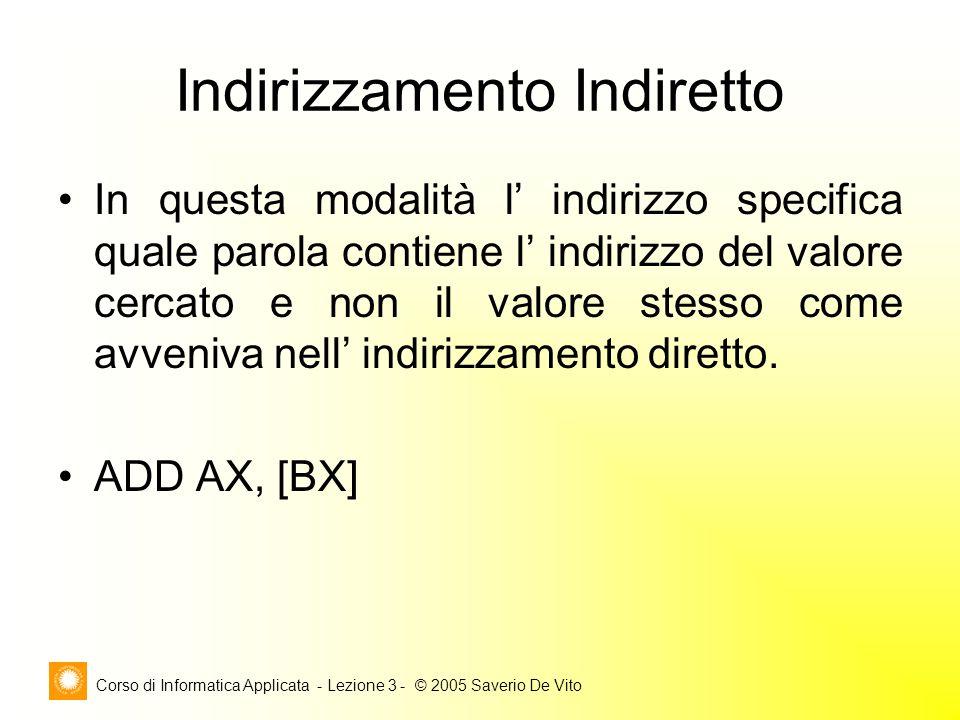 Corso di Informatica Applicata - Lezione 3 - © 2005 Saverio De Vito Indirizzamento Indiretto In questa modalità l indirizzo specifica quale parola con