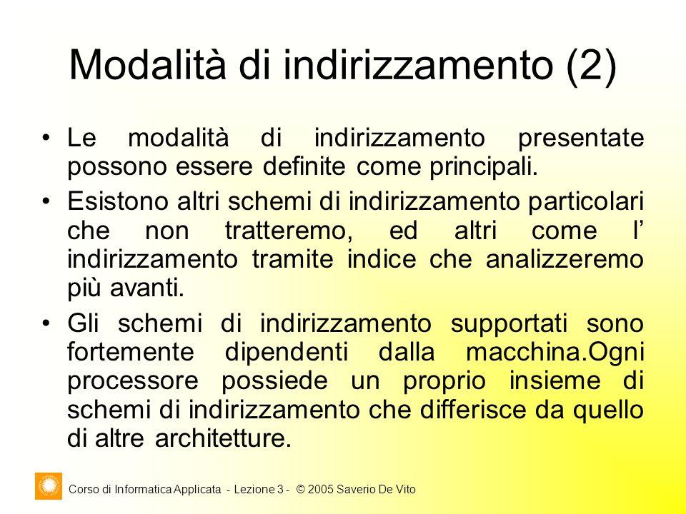 Corso di Informatica Applicata - Lezione 3 - © 2005 Saverio De Vito Modalità di indirizzamento (2) Le modalità di indirizzamento presentate possono es