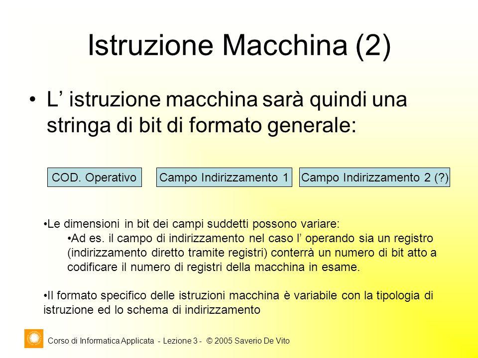 Corso di Informatica Applicata - Lezione 3 - © 2005 Saverio De Vito Istruzione Macchina (2) L istruzione macchina sarà quindi una stringa di bit di fo