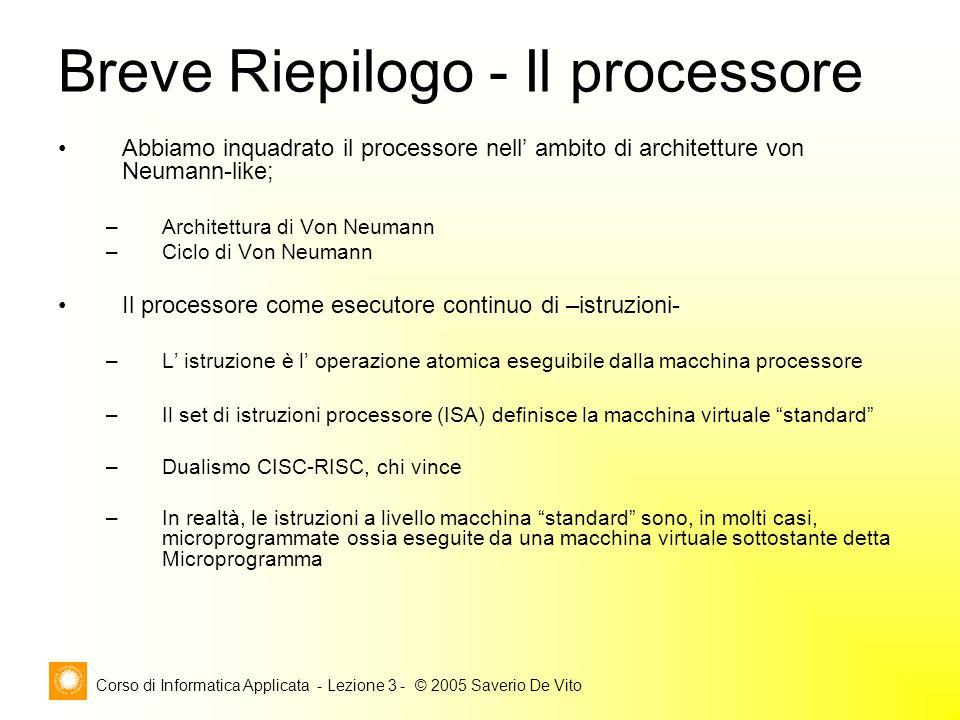 Corso di Informatica Applicata - Lezione 3 - © 2005 Saverio De Vito Abbiamo inquadrato il processore nell ambito di architetture von Neumann-like; –Ar