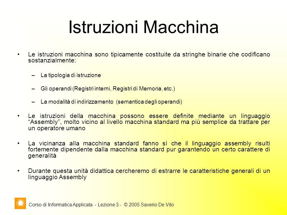 Corso di Informatica Applicata - Lezione 3 - © 2005 Saverio De Vito Istruzioni Macchina Le istruzioni macchina sono tipicamente costituite da stringhe