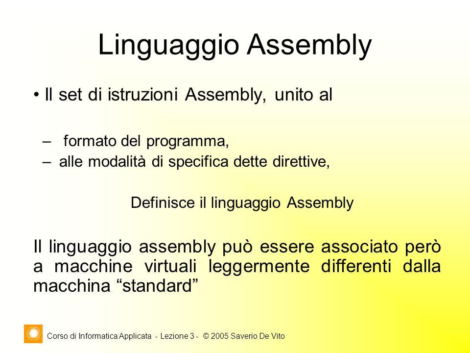Corso di Informatica Applicata - Lezione 3 - © 2005 Saverio De Vito Linguaggio Assembly Il set di istruzioni Assembly, unito al – formato del programm