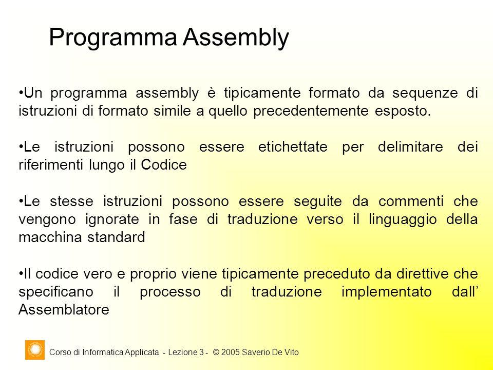 Corso di Informatica Applicata - Lezione 3 - © 2005 Saverio De Vito Programma Assembly Un programma assembly è tipicamente formato da sequenze di istr