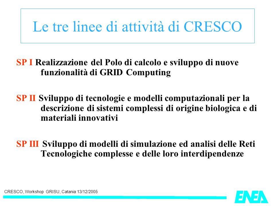 CRESCO, Workshop GRISU, Catania 13/12/2005 Le tre linee di attività di CRESCO SP I Realizzazione del Polo di calcolo e sviluppo di nuove funzionalità