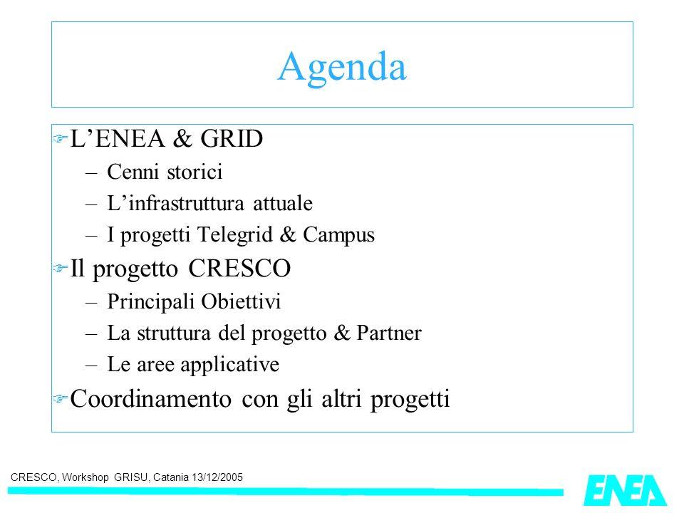 CRESCO, Workshop GRISU, Catania 13/12/2005 ENEA GRID e il progetto DATAGRID ENEA ha partecipato (unfunded) in DATAGRID (finito 2004) collaborando con ESRIN [ESA] Frascati dove è stato realizzato un gateway DATAGRID ==> ENEA-GRID con funzionalità limitate [sottomissione, pubblicazione dei risultati] Test con l analisi dei dati satellitari di GOME (livelli di Ozono) [IDL/multicase/multipiattaforma ] ENEA-Geographic SUBMISSION PROCEDURE Input Files LIV1 List of path Input File LIV1 IDL Program GOME Output File LIV2 Input File LIV1 List of path Input File LIV1 Case-1 Case_2 Case n WEB User afs/home