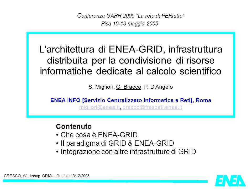 C onferenza GARR 2005 La rete daPERtutto Pisa 10-13 maggio 2005 Contenuto Che cosa è ENEA-GRID Il paradigma di GRID & ENEA-GRID Integrazione con altre