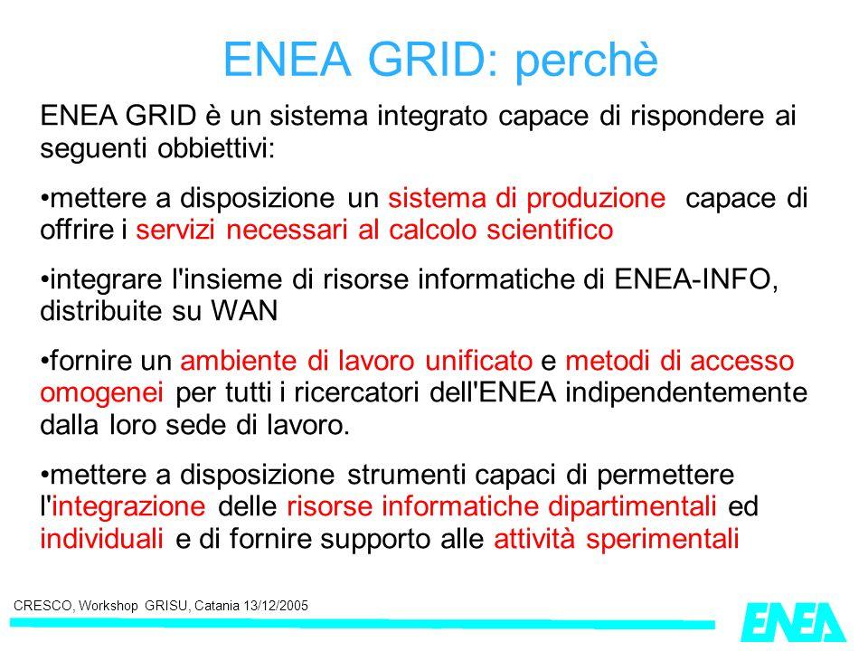 CRESCO, Workshop GRISU, Catania 13/12/2005 ENEA GRID è un sistema integrato capace di rispondere ai seguenti obbiettivi: mettere a disposizione un sis