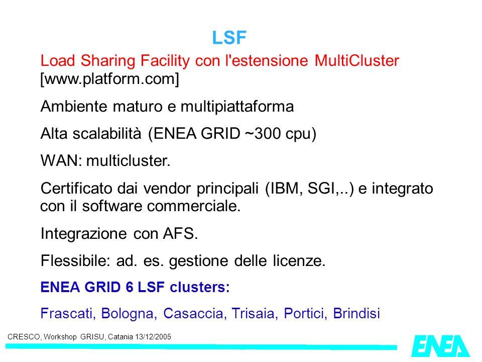 CRESCO, Workshop GRISU, Catania 13/12/2005 LSF Load Sharing Facility con l'estensione MultiCluster [www.platform.com] Ambiente maturo e multipiattafor