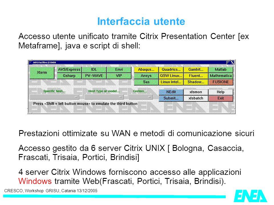 CRESCO, Workshop GRISU, Catania 13/12/2005 Interfaccia utente Accesso utente unificato tramite Citrix Presentation Center [ex Metaframe], java e scrip
