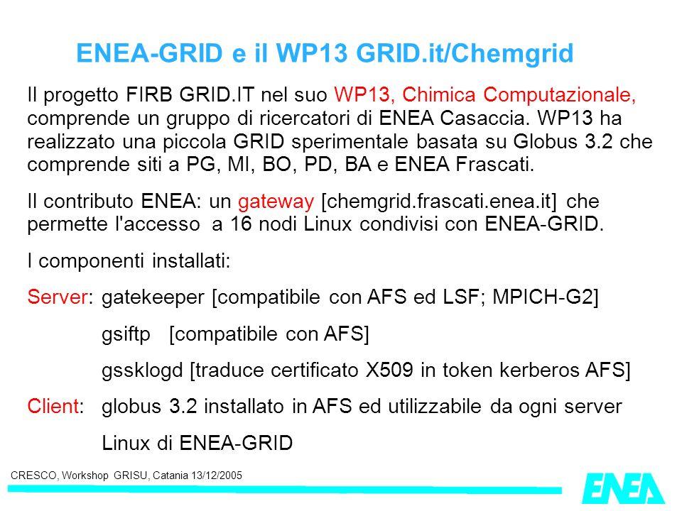 CRESCO, Workshop GRISU, Catania 13/12/2005 ENEA-GRID e il WP13 GRID.it/Chemgrid Il progetto FIRB GRID.IT nel suo WP13, Chimica Computazionale, compren