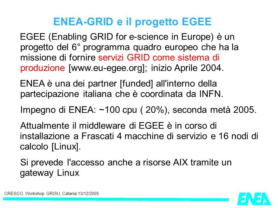 CRESCO, Workshop GRISU, Catania 13/12/2005 ENEA-GRID e il progetto EGEE EGEE (Enabling GRID for e-science in Europe) è un progetto del 6° programma qu