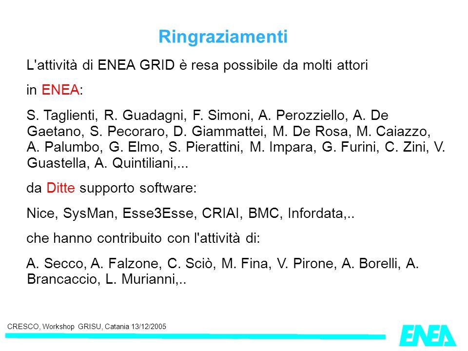 CRESCO, Workshop GRISU, Catania 13/12/2005 Ringraziamenti L'attività di ENEA GRID è resa possibile da molti attori in ENEA: S. Taglienti, R. Guadagni,