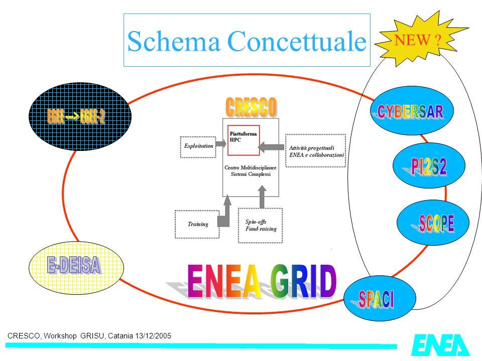CRESCO, Workshop GRISU, Catania 13/12/2005 Il Laboratorio Virtuale Per le applicazioni finali allutenza Li ENEA Università e altri Enti di ricerca Imprese Schema concettuale dei Laboratori Virtuali di CRESCO inseriti nellinfrastruttura ENEA-GRID