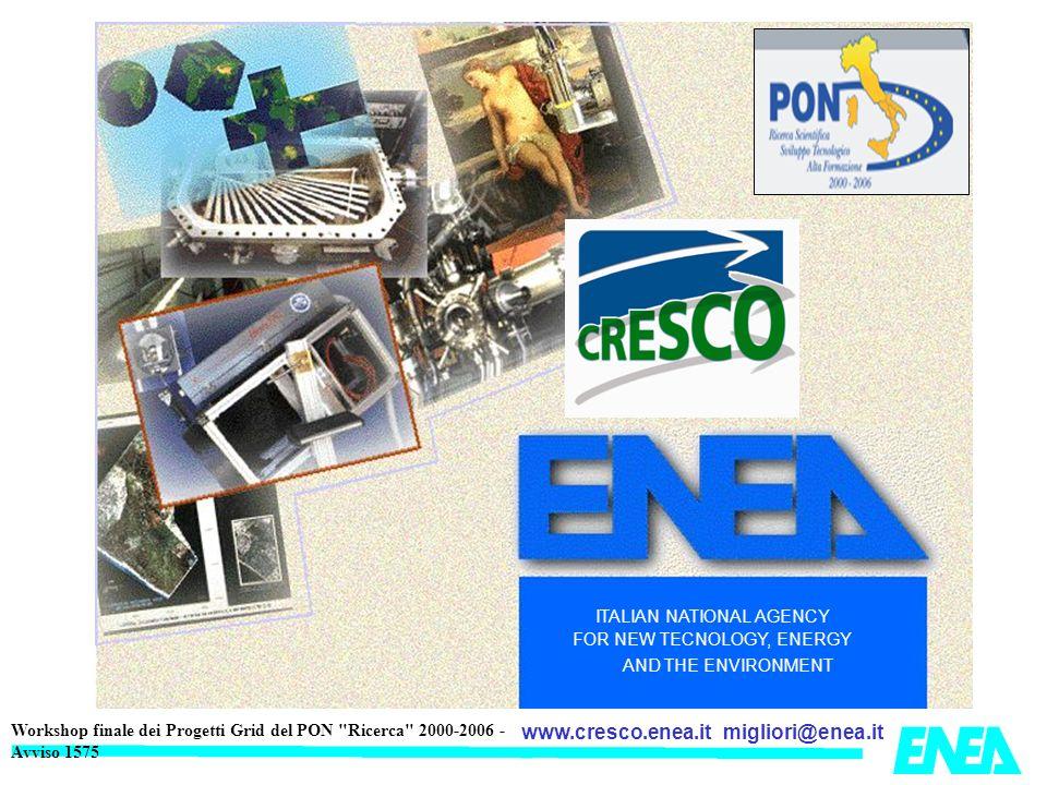 migliori@enea.itwww.cresco.enea.it Workshop finale dei Progetti Grid del PON Ricerca 2000-2006 - Avviso 1575 LENEA gestisce in proprio le reti locali (LAN) su tutti I centri mentre la connettività fra i centri (WAN) è garantita dal Consortium GARR di cui lENEA è socio Connessioni delle LAN ENEA alla rete GARR ENEA & GARR 9 PoP, da 18 a 1000 Mbps Centri ENEA-GRID Brindisi (150 Mbps) Bologna (30 Mbps) Casaccia (100 Mbps) Frascati (135 Mbps) Portici (2000 Mbps) New Fibra Spenta CRESCO-SCOPE Trisaia (18 Mbps)
