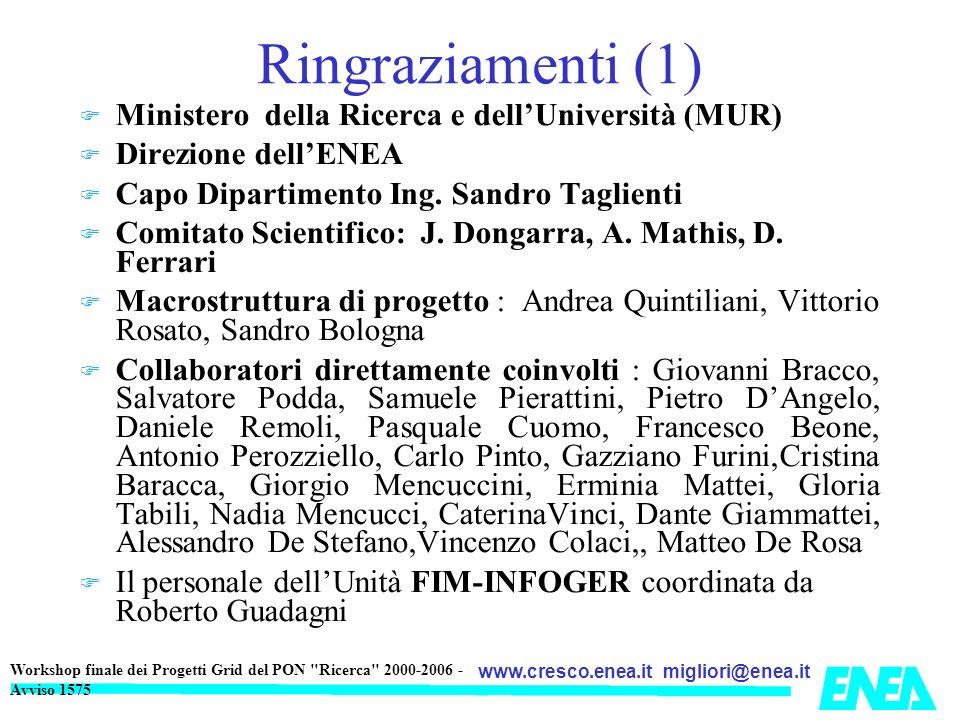 migliori@enea.itwww.cresco.enea.it Workshop finale dei Progetti Grid del PON Ricerca 2000-2006 - Avviso 1575 Poster CRESCO 9.