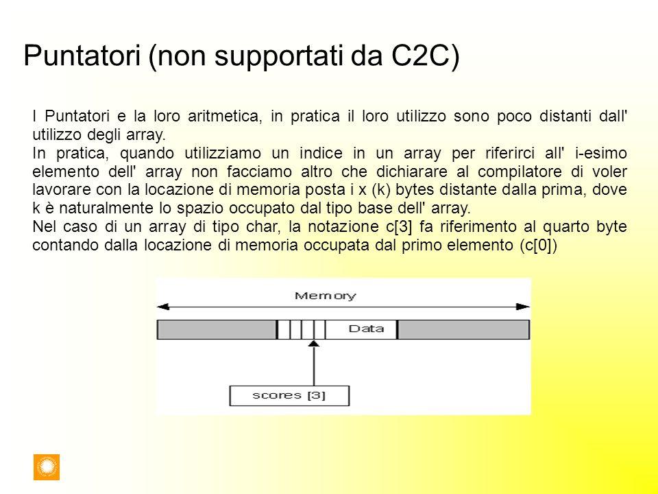 Puntatori (non supportati da C2C) I Puntatori e la loro aritmetica, in pratica il loro utilizzo sono poco distanti dall' utilizzo degli array. In prat