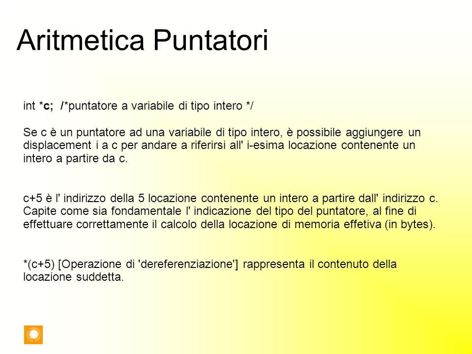 Aritmetica Puntatori int *c; /*puntatore a variabile di tipo intero */ Se c è un puntatore ad una variabile di tipo intero, è possibile aggiungere un