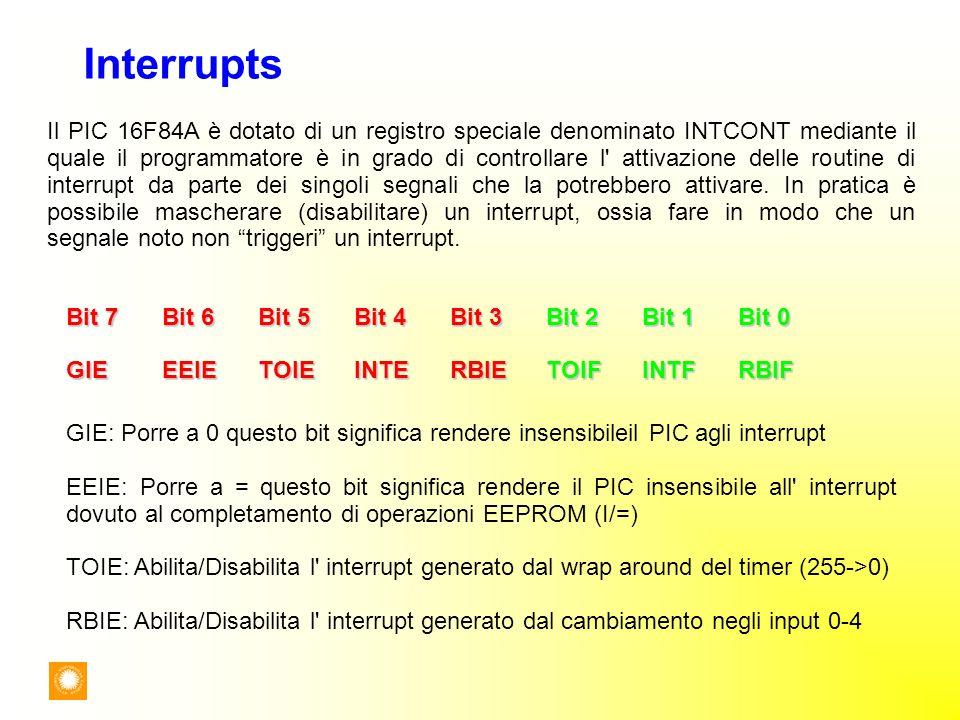 Interrupts Il PIC 16F84A è dotato di un registro speciale denominato INTCONT mediante il quale il programmatore è in grado di controllare l' attivazio