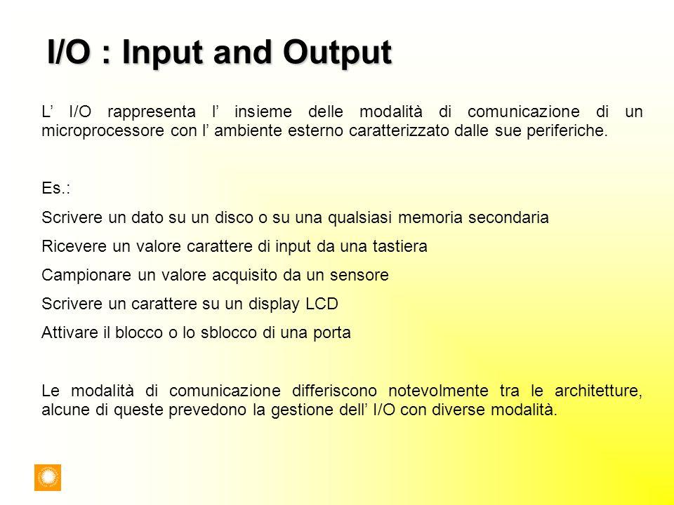 I/O : Input and Output L I/O rappresenta l insieme delle modalità di comunicazione di un microprocessore con l ambiente esterno caratterizzato dalle s