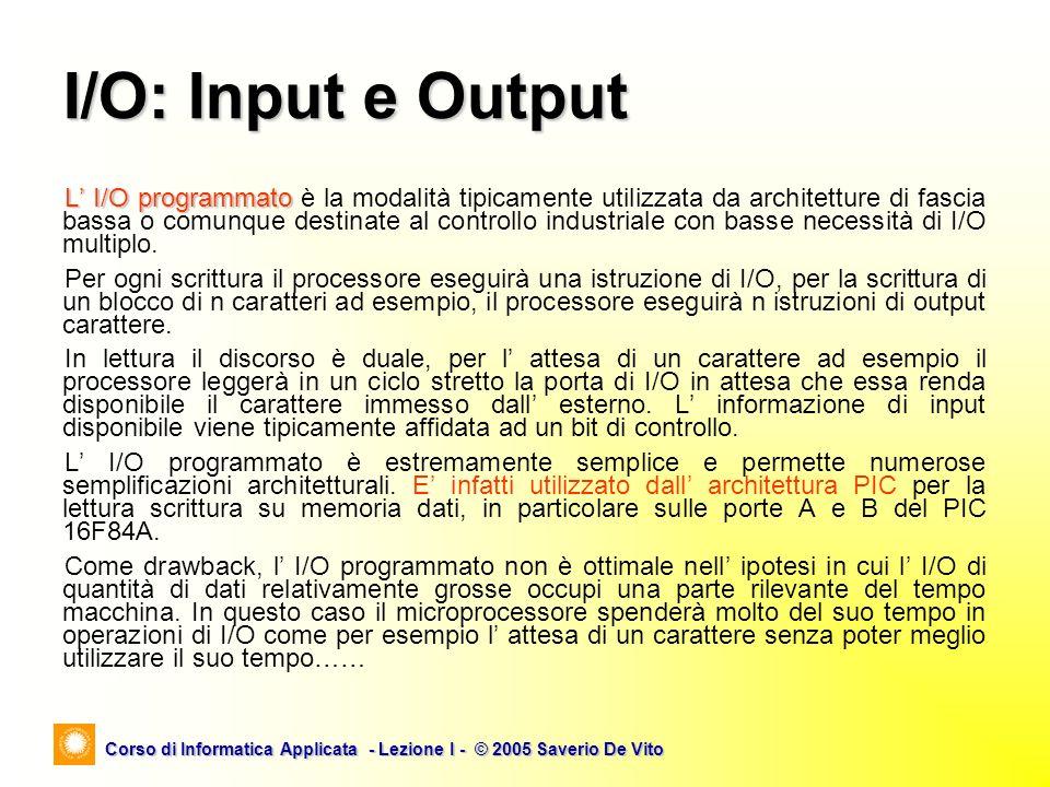 Corso di Informatica Applicata - Lezione I - © 2005 Saverio De Vito L I/O programmato L I/O programmato è la modalità tipicamente utilizzata da archit
