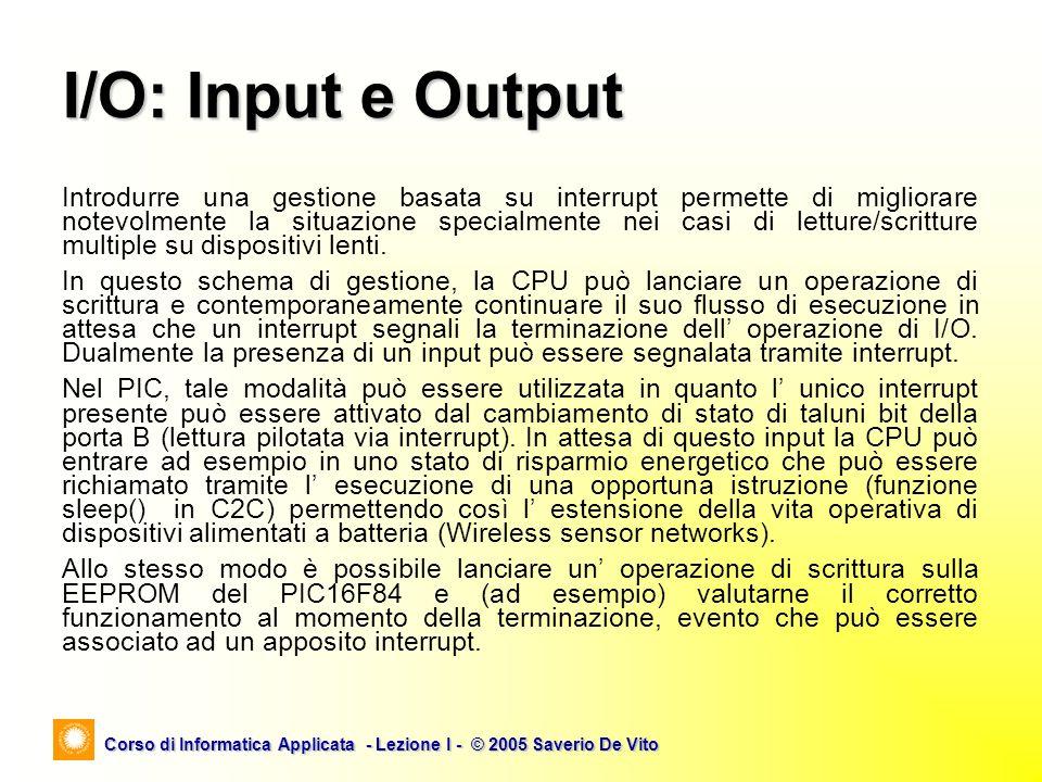 Corso di Informatica Applicata - Lezione I - © 2005 Saverio De Vito Introdurre una gestione basata su interrupt permette di migliorare notevolmente la