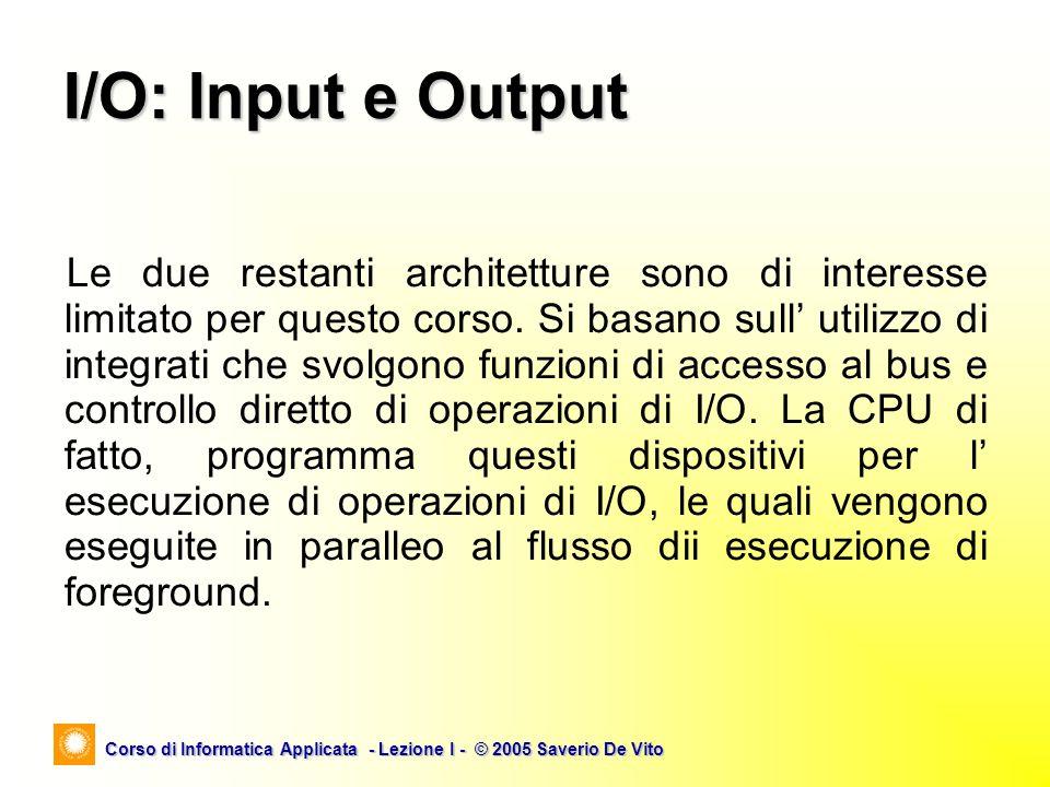 Corso di Informatica Applicata - Lezione I - © 2005 Saverio De Vito Le due restanti architetture sono di interesse limitato per questo corso. Si basan
