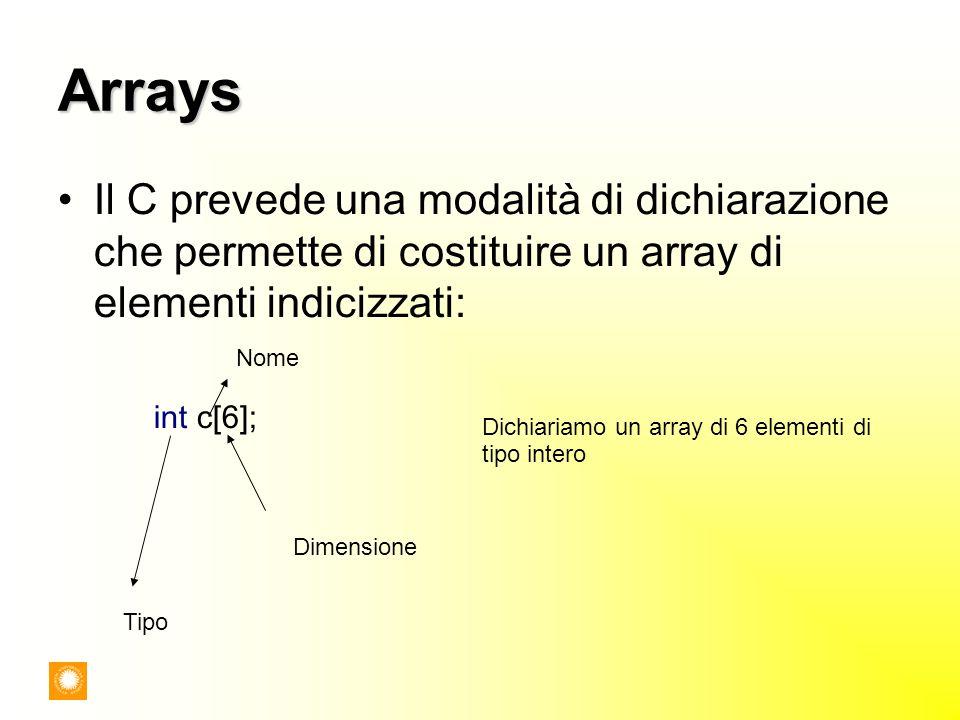 Arrays Il C prevede una modalità di dichiarazione che permette di costituire un array di elementi indicizzati: int c[6]; Dimensione Nome Tipo Dichiari