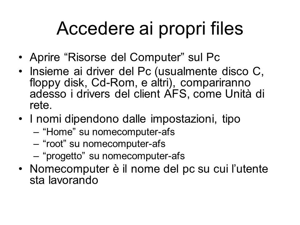 Accedere ai propri files Aprire Risorse del Computer sul Pc Insieme ai driver del Pc (usualmente disco C, floppy disk, Cd-Rom, e altri), compariranno