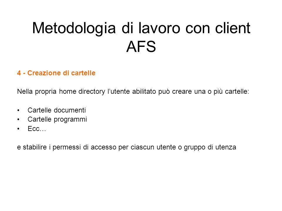 Metodologia di lavoro con client AFS 4 - Creazione di cartelle Nella propria home directory lutente abilitato può creare una o più cartelle: Cartelle