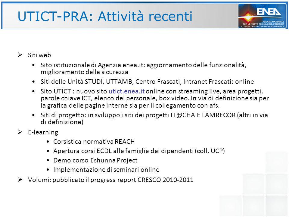 UTICT-PRA: Attività recenti Siti web Sito istituzionale di Agenzia enea.it: aggiornamento delle funzionalità, miglioramento della sicurezza Siti delle