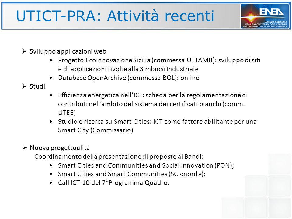 UTICT-PRA: Attività recenti Sviluppo applicazioni web Progetto Ecoinnovazione Sicilia (commessa UTTAMB): sviluppo di siti e di applicazioni rivolte al