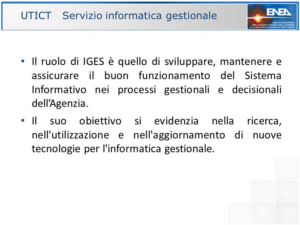 UTICT Servizio informatica gestionale Il ruolo di IGES è quello di sviluppare, mantenere e assicurare il buon funzionamento del Sistema Informativo ne