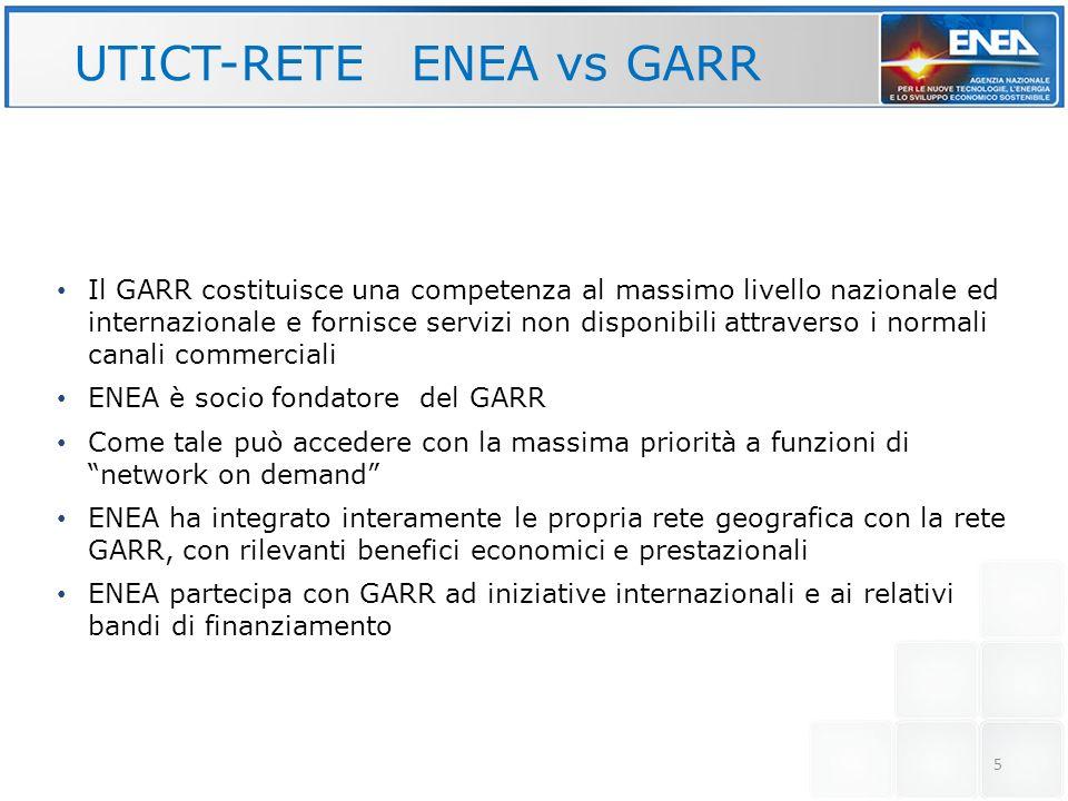 6 UTICT-RETE: ENEA vs GARR 16 reti locali (una per ogni sede ENEA) ognuna connessa alla rete della ricerca (GARR) e, tramite GARR, alla rete internet Le 7 principali sedi con bande comprese tra 1 Gbps e 4 Gbps
