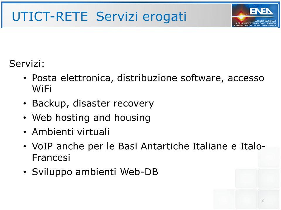 8 UTICT-RETE Servizi erogati Servizi: Posta elettronica, distribuzione software, accesso WiFi Backup, disaster recovery Web hosting and housing Ambien