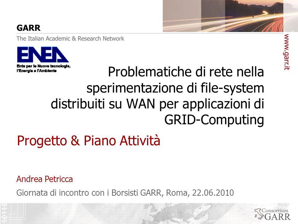 Giornata di incontro con i Borsisti GARR, Roma, 22.06.2010 Andrea Petricca Problematiche di rete nella sperimentazione di file-system distribuiti su WAN per applicazioni di GRID-Computing Progetto & Piano Attività