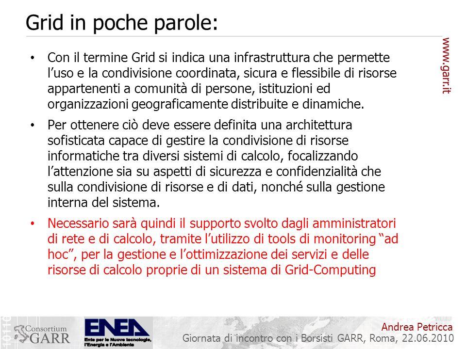 Andrea Petricca Giornata di incontro con i Borsisti GARR, Roma, 22.06.2010 Grid in poche parole: Con il termine Grid si indica una infrastruttura che