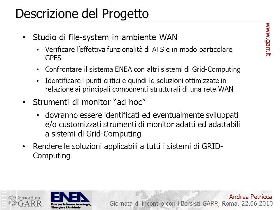 Andrea Petricca Giornata di incontro con i Borsisti GARR, Roma, 22.06.2010 Descrizione del Progetto Studio di file-system in ambiente WAN Verificare l