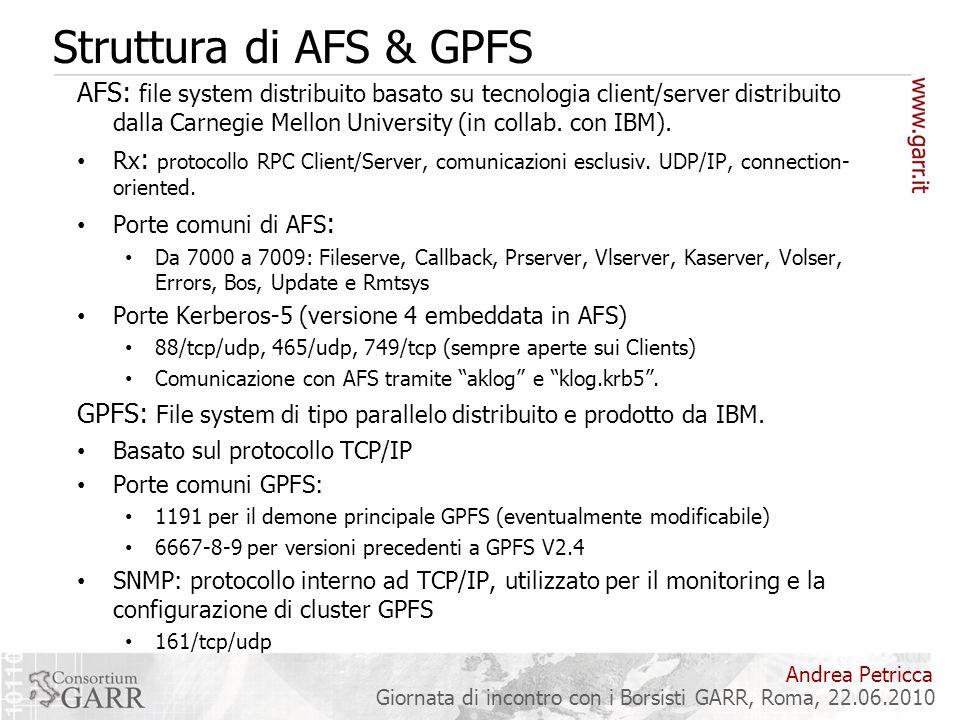 Struttura di AFS & GPFS AFS: file system distribuito basato su tecnologia client/server distribuito dalla Carnegie Mellon University (in collab. con I
