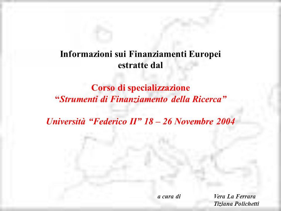 Informazioni sui Finanziamenti Europei estratte dal Corso di specializzazioneStrumenti di Finanziamento della Ricerca Università Federico II 18 – 26 N
