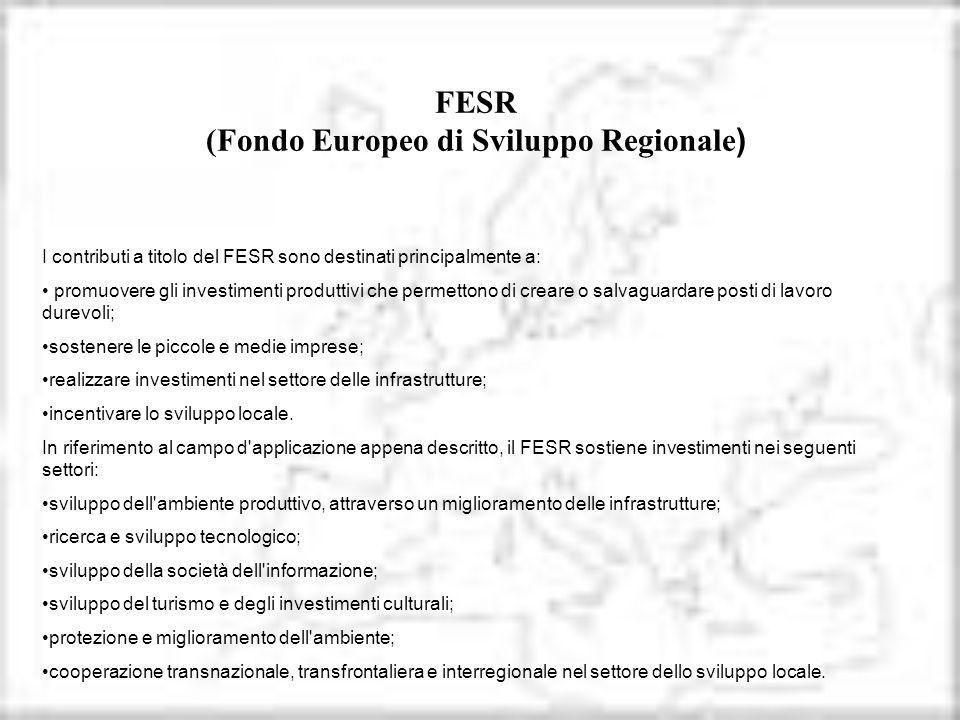FESR (Fondo Europeo di Sviluppo Regionale ) I contributi a titolo del FESR sono destinati principalmente a: promuovere gli investimenti produttivi che